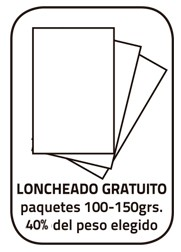 Paleta Loncheado (paquetes 100 - 150 Grs.) + taquitos sobrantes. Peso total 40% del peso elegido.